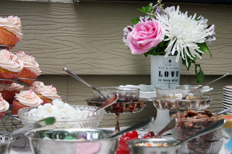 ice cream bar bridal shower diy flowers cupcakes roses pink