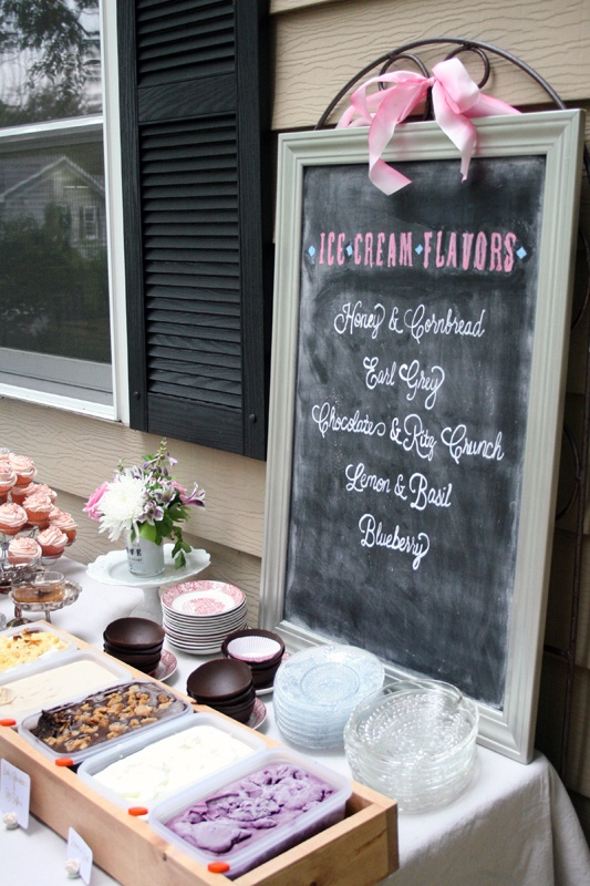 ice cream bar bridal shower chalkboard menu pink white