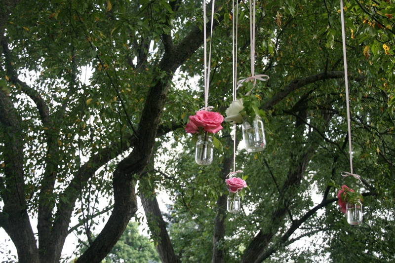 flowers hanging vases ribbon tree branches roses bridal shower