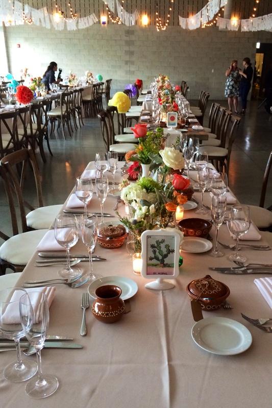 papel picado banquet tables wedding