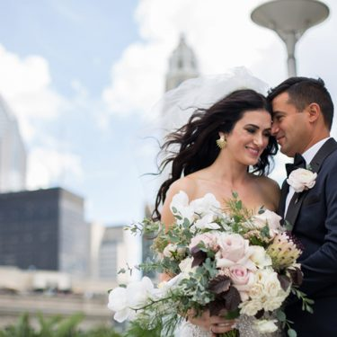 flower-filled wedding at city hall